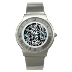 Blue abstract flowers Stainless Steel Watch
