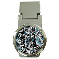 Blue abstract flowers Money Clip Watches