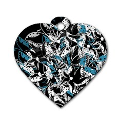Blue abstract flowers Dog Tag Heart (Two Sides)