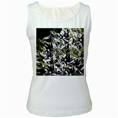 Green floral abstraction Women s White Tank Top