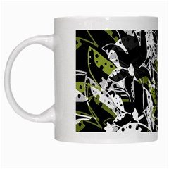 Green floral abstraction White Mugs