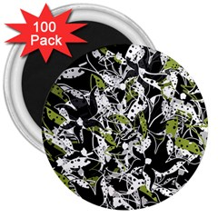 Green floral abstraction 3  Magnets (100 pack)