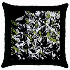 Green floral abstraction Throw Pillow Case (Black)