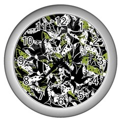 Green floral abstraction Wall Clocks (Silver)