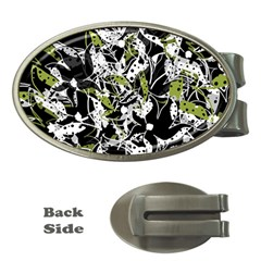 Green floral abstraction Money Clips (Oval)