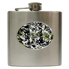 Green floral abstraction Hip Flask (6 oz)