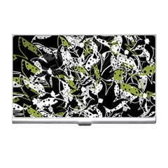 Green floral abstraction Business Card Holders
