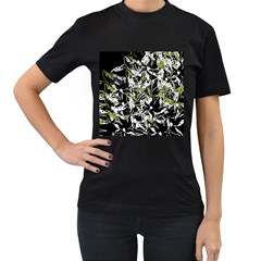 Green floral abstraction Women s T-Shirt (Black) (Two Sided)