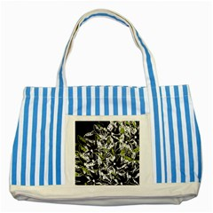 Green floral abstraction Striped Blue Tote Bag