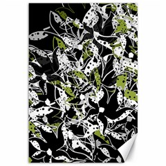 Green floral abstraction Canvas 12  x 18