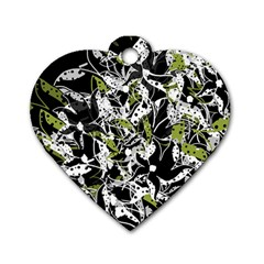 Green floral abstraction Dog Tag Heart (One Side)