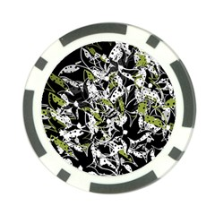 Green Floral Abstraction Poker Chip Card Guards (10 Pack)