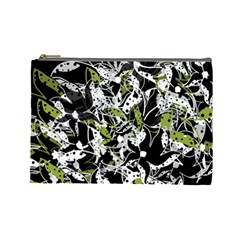 Green floral abstraction Cosmetic Bag (Large)
