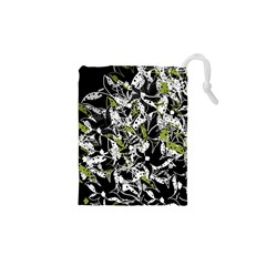 Green floral abstraction Drawstring Pouches (XS)