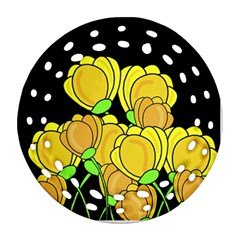 Yellow Tulips Round Filigree Ornament (2side)