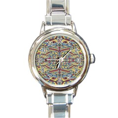Multicolor Abstract Round Italian Charm Watch