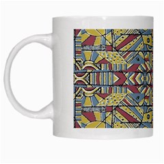 Multicolor Abstract White Mugs