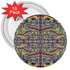 Multicolor Abstract 3  Buttons (10 Pack)