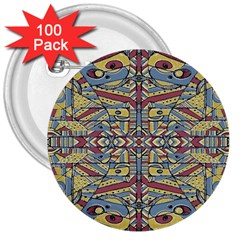 Multicolor Abstract 3  Buttons (100 Pack)