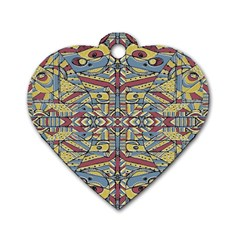 Multicolor Abstract Dog Tag Heart (two Sides)