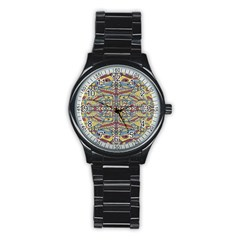 Multicolor Abstract Stainless Steel Round Watch
