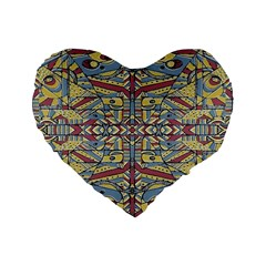 Multicolor Abstract Standard 16  Premium Flano Heart Shape Cushions