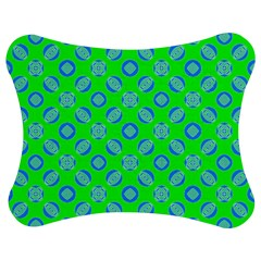 Mod Blue Circles On Bright Green Jigsaw Puzzle Photo Stand (bow)