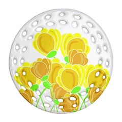 Yellow Flowers Round Filigree Ornament (2side)