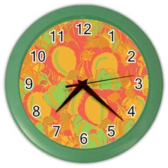 Orange garden Color Wall Clocks