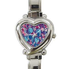 Blue garden Heart Italian Charm Watch
