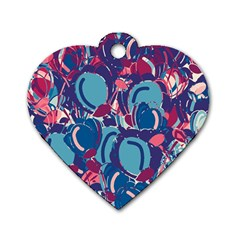 Blue garden Dog Tag Heart (One Side)
