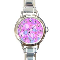 Pink garden Round Italian Charm Watch