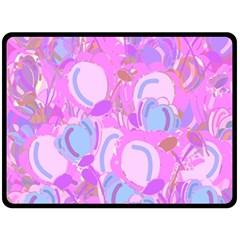 Pink garden Fleece Blanket (Large)