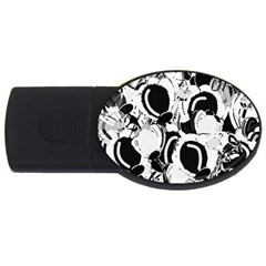 Black and white garden USB Flash Drive Oval (2 GB)