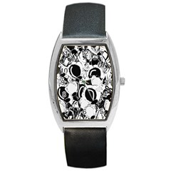 Black and white garden Barrel Style Metal Watch