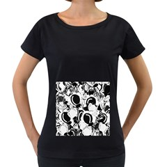 Black and white garden Women s Loose-Fit T-Shirt (Black)