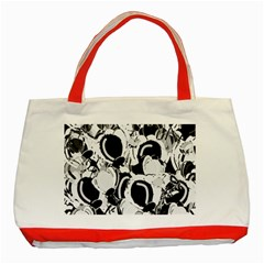 Black and white garden Classic Tote Bag (Red)