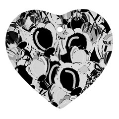 Black And White Garden Heart Ornament (2 Sides)