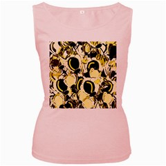 Yellow abstract garden Women s Pink Tank Top