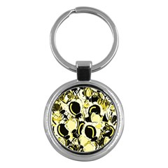 Yellow abstract garden Key Chains (Round)
