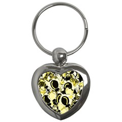 Yellow abstract garden Key Chains (Heart)
