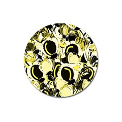 Yellow abstract garden Magnet 3  (Round)