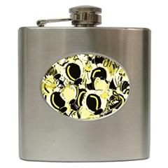 Yellow abstract garden Hip Flask (6 oz)