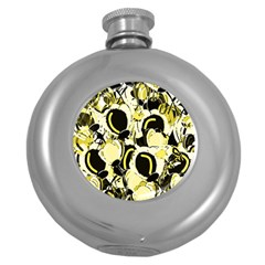 Yellow abstract garden Round Hip Flask (5 oz)