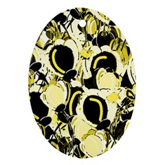 Yellow abstract garden Oval Ornament (Two Sides)