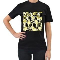 Yellow abstract garden Women s T-Shirt (Black)