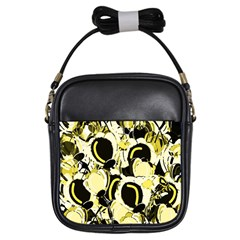Yellow abstract garden Girls Sling Bags