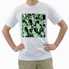 Green abstract garden Men s T-Shirt (White) (Two Sided)