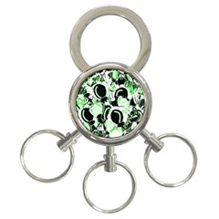 Green abstract garden 3-Ring Key Chains