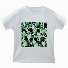 Green abstract garden Kids White T-Shirts